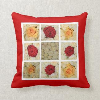 赤く、黄色および白いバラのコラージュ クッション