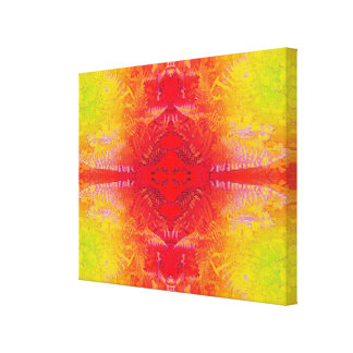 赤く/黄色/緑シダの葉2JHotwax2のフラクタルB キャンバスプリント