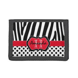 赤く、黒く、白いシマウマのストライプのな三つ折り財布