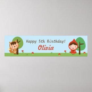 赤ずきんの女の子の誕生会の旗 ポスター