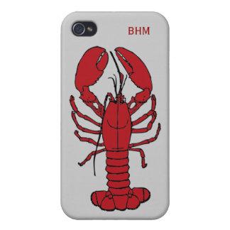 赤でカスタムなメインのロブスターの任意イニシャル iPhone 4/4S カバー
