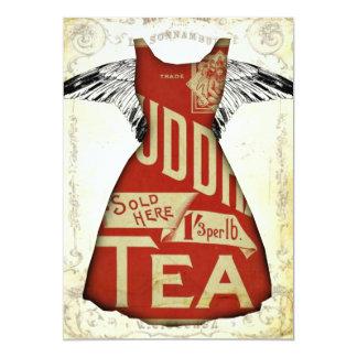 赤で服を着る茶パーティの招待状 カード