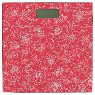 赤で白いマリーゴールド 体重計