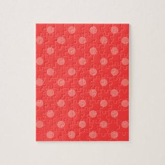 赤で薄赤の水玉模様- ジグソーパズル