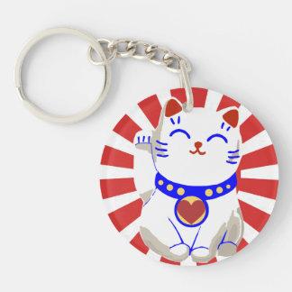 赤と白かわいく幸運でかわいいneko猫 キーホルダー