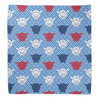 赤と白と青い日本のなウサギのプリント バンダナ