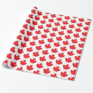 赤と白のカナダのカエデの葉パターン ラッピングペーパー