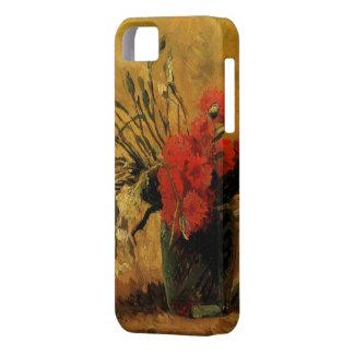 赤と白のカーネーションが付いているつぼ iPhone 5 CASE