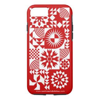 赤と白のキルトのiPhone 7 -赤いボーダー iPhone 8/7ケース