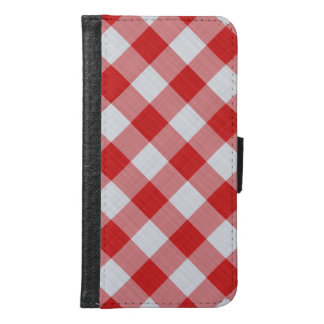 赤と白のギンガムの点検-斜めパターン GALAXY S6 ウォレットケース