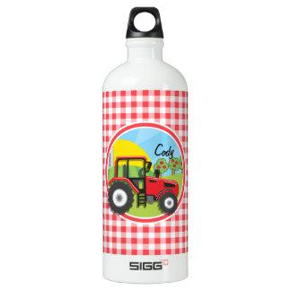 赤と白のギンガムの赤いトラクター ウォーターボトル