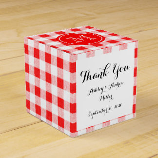 赤と白のギンガム、あなたのモノグラム フェイバーボックス