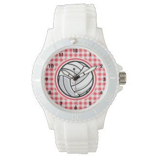 赤と白のギンガム; バレーボール 腕時計