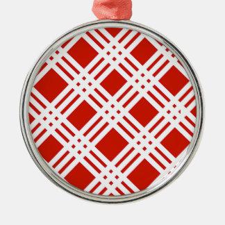 赤と白のギンガム メタルオーナメント