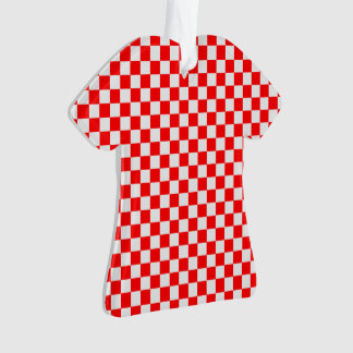 赤と白のクラシックなチェッカーボード オーナメント
