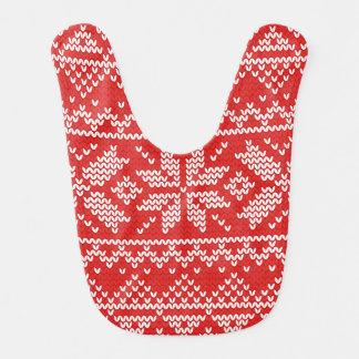 赤と白のクリスマスによって編まれるパターン ベビービブ