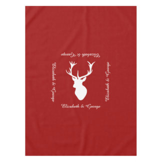 赤と白のクリスマスのシカの雄鹿の頭部 テーブルクロス