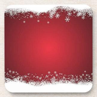 赤と白のクリスマスパターン コースター