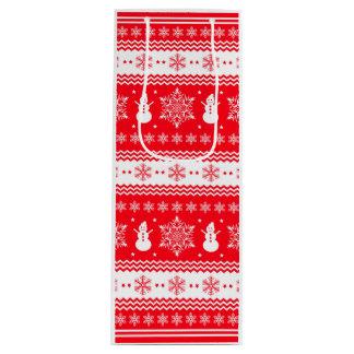 赤と白のクリスマス ワインギフトバッグ