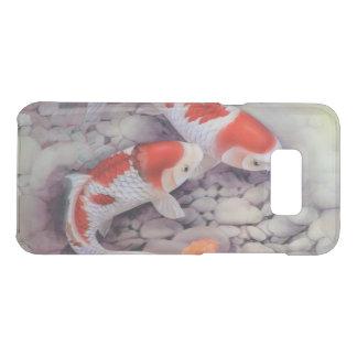 赤と白のコイの魚のいる池 ケース