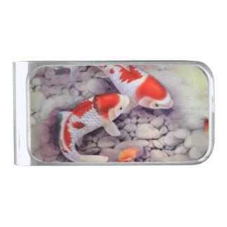 赤と白のコイの魚のいる池 シルバー マネークリップ