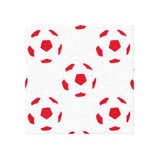 赤と白のサッカーボールパターン キャンバスプリント