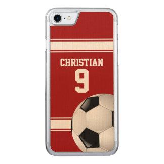赤と白のストライプのジャージーのサッカーボール CARVED iPhone 8/7 ケース