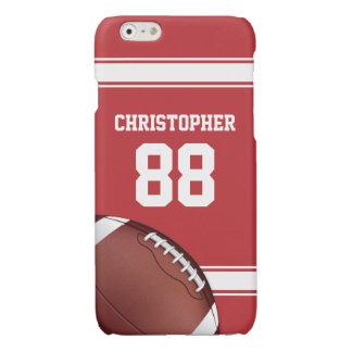 赤と白のストライプのジャージーの格子鉄のフットボール 光沢iPhone 6ケース