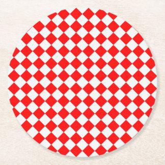 赤と白のダイヤモンドパターン ラウンドペーパーコースター
