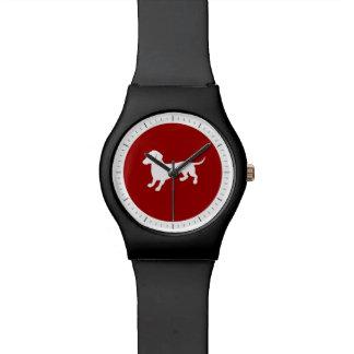 赤と白のダックスフントのデザイン 腕時計