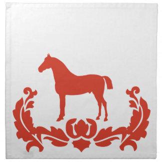赤と白のダマスク織の馬 ナプキンクロス