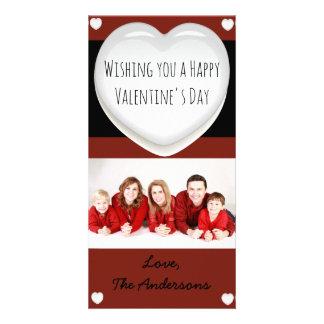 赤と白のハートのバレンタインデーの写真カード カード