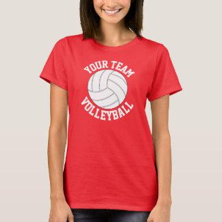 赤と白のバレーボールのチーム名前の女性のTシャツ Tシャツ