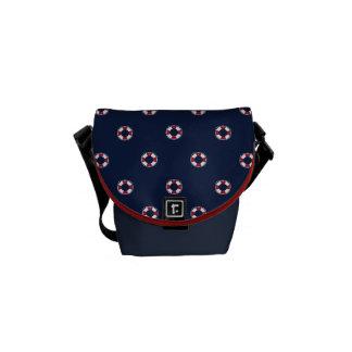 赤と白のブイパターン メッセンジャーバッグ