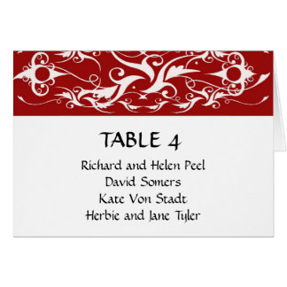 赤と白のブロケードの結婚式の座席の図表 カード