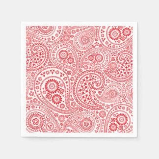 赤と白のペイズリーパターン スタンダードカクテルナプキン
