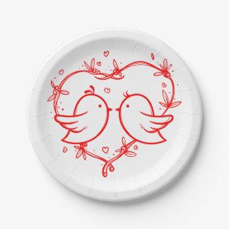 赤と白の仲の良い恋人同士およびハートの結婚披露宴 ペーパープレート