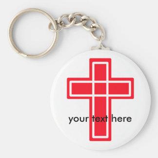 赤と白の十字のkeychain キーホルダー
