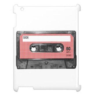 赤と白の千鳥格子のなラベルカセット iPad CASE