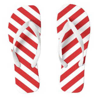 赤と白の対角線は縞で飾ります ビーチサンダル