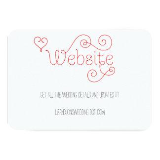 赤と白の巻き毛の原稿の結婚式のウェブサイトカード 8.9 X 12.7 インビテーションカード