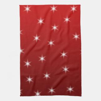 赤と白の星パターン キッチンタオル
