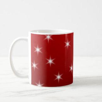 赤と白の星パターン コーヒーマグカップ