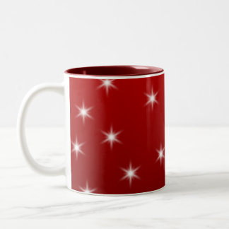 赤と白の星パターン ツートーンマグカップ