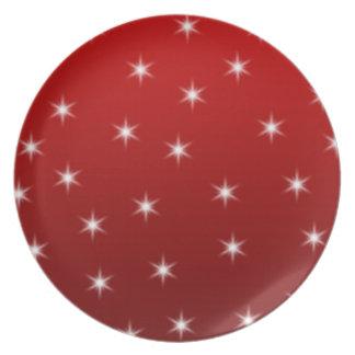 赤と白の星パターン プレート