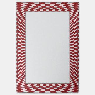 赤と白の歪められたチェック模様のパターン ポストイット