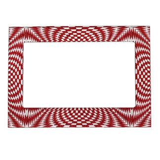赤と白の歪められたチェック模様のパターン マグネットフレーム