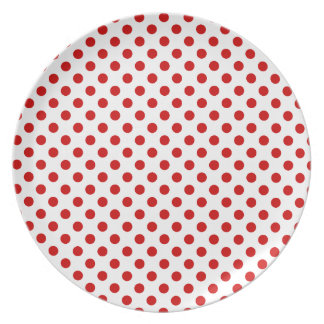 赤と白の水玉模様のお祝いのプレート プレート