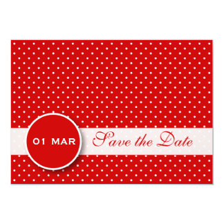 赤と白の水玉模様の保存日付の招待状 カード