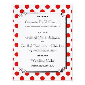 赤と白の水玉模様の披露宴の夕食メニュー 10.8 X 14 インビテーションカード